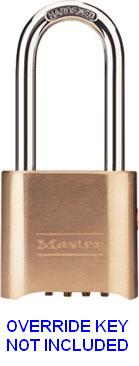 "176LH - Master #176 Brass Key-Controlled Four-Digit Resettable Combination Lock with 2-1/8"" shackle <b><span style=""color:blue"">OVERRIDE KEYS SOLD SEPARATELY; PART # K176CR $3.34 EA </b></span>"