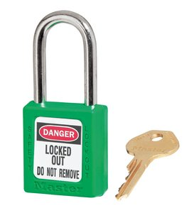 "410KDGRN - Master #410 Keyed Different; 1-1/2"" Wide GREEN Xenoy Padlock; Steel Shackle; ONE KEY PER LOCK"