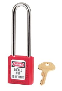 "410KDLTRED - Master #410 Keyed Different; 1-1/2"" Wide RED Xenoy Padlock; Steel Shackle; ONE KEY PER LOCK"