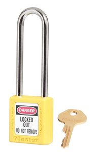 "410KDLTYLW - Master #410 Keyed Different; 1-1/2"" Wide YELLOW Xenoy Padlock; Steel Shackle; ONE KEY PER LOCK"