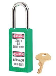 "411KDGRN - Master #411 Keyed Different; 1-1/2"" Wide GREEN Xenoy Padlock; Steel Shackle; ONE KEY PER LOCK"