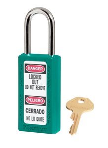 "411KDTEL - Master #411 Keyed Different; 1-1/2"" Wide TEAL Xenoy Padlock; Steel Shackle; ONE KEY PER LOCK"