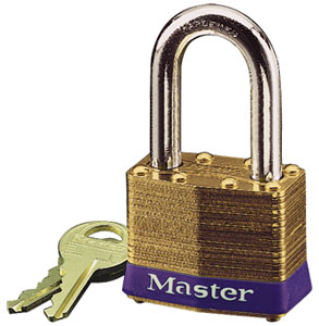 "4KALF - Master #4 Keyed Alike; 1-9/16"" Laminated Brass Padlock, 1-1/2"" Hardened Steel Shackle"