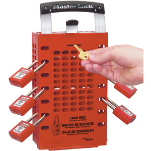 Latch Tight Red Group Lock Box - Portable or Wall Mount