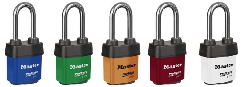 "6121KALJ - NOW AVAILABLE IN 6 COLORS FOR HIGH VISIBILITY - Master Pro Series #6121 Keyed Alike; 2-1/8"" Steel Padlock with WeatherTough Cover, 2-3/8"" Boron Alloy Shackle; NOW AVAILABLE IN 6 COLORS FOR HIGH VISIBILITY"