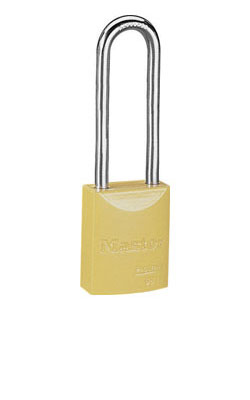 "6835KDLTYLW - Master Pro Series #6835 Keyed Different; 1-9/16"" Solid Aluminum YELLOW Padlock; Boron Alloy Shackle"