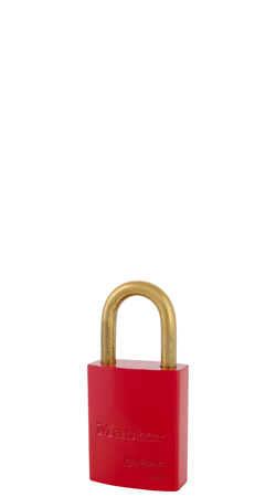 "6835KDBRED - Master Pro Series #6835 Keyed Different; 1-9/16"" Solid Aluminum RED Padlock; Brass Shackle"
