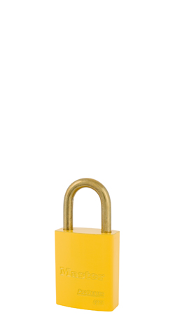"6835KDBYLW - Master Pro Series #6835 Keyed Different; 1-9/16"" Solid Aluminum YELLOW Padlock; Brass Shackle"