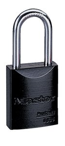 "6835KDLFBLK - Master Pro Series #6835 Keyed Different; 1-9/16"" Solid Aluminum BLACK Padlock; Boron Alloy Shackle"