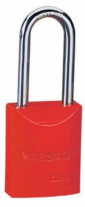 "6835KALFRED - Master Pro Series #6835 Keyed Alike; 1-9/16"" Solid Aluminum RED Padlock; Boron Alloy Shackle"