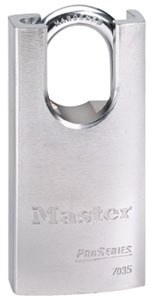 "7035KA - Master Pro Series #7035 Keyed Alike; 1 9/16"" Solid Steel Padlock, 1 1/16 Shrouded Boron Alloy Shackle"