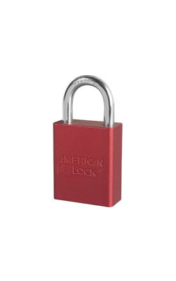 "A1105KARED - American Lock #A1105; 1 1/2"" Wide Solid Aluminum Padlock with Boron Shackle; 5 Pin Cylinder"