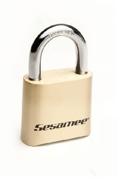 K436 - Sesamee #K436 Brass Four-Digit Resettable Combination Lock with standard sized chrome shackle