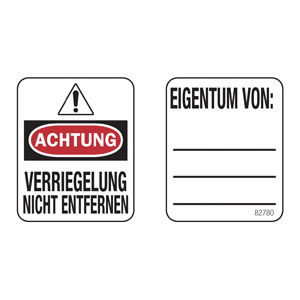 Padlock Labels (German Language)