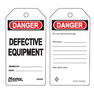 Safety Tag - Defective Equipment - Safety Tag