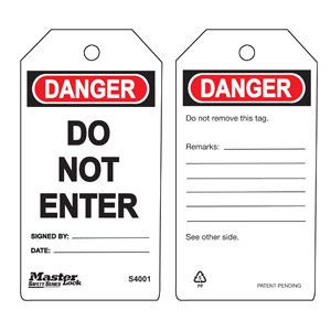 Safety Tag - Do Not Enter - Safety Tag