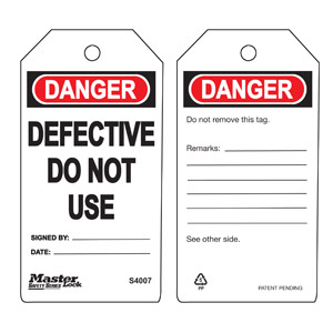 Safety Tag - Defective