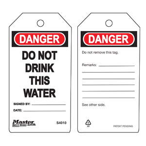 Safety Tag - Do Not Drink Water