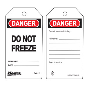 Safety Tag - Do Not Freeze