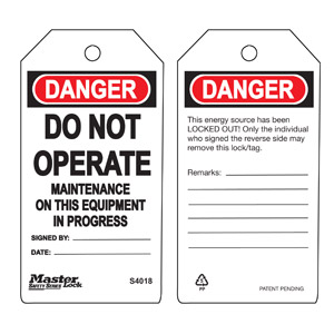Safety Tag - Maintenance