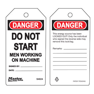 Safety Tag - Do Not Start