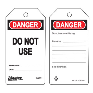 Safety Tag - Do Not Use