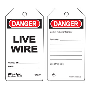 Safety Tag - Live Wire