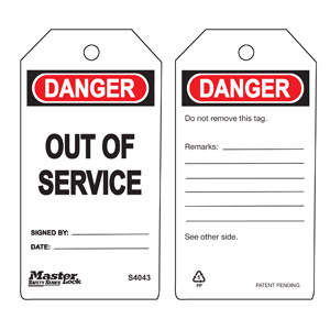 Safety Tag - Out Of Service