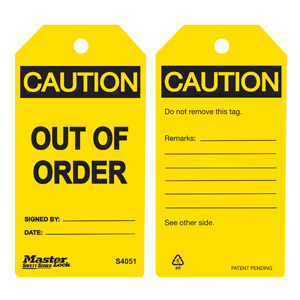 Safety Tag - Out Of Order - Yellow
