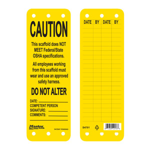 Yellow Scaffold Tag (Caution)
