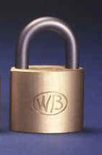 "GP12323 - Wilson Bohannan GP12323 keyed alike; 1-3/4"" wide solid brass padlock, stainless steel 7/8"" shackle"