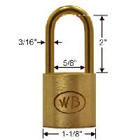 "GP10090 - Wilson Bohannan GP10090 keyed alike; 1-1/8"" wide solid brass padlock, brass 2"" shackle"