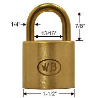 "GP11120 - Wilson Bohannan GP11120 keyed alike; 1-1/2"" wide solid brass padlock, brass 7/8"" shackle"