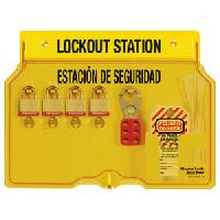 Laminated Steel 4 Lock Spanish/English Padlock Station