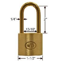 "GP11190 - Wilson Bohannan GP11190 keyed alike; 1-1/2"" wide solid brass padlock, brass 2"" shackle"