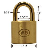 "GP11220 - Wilson Bohannan GP11220 keyed alike; 1-1/2"" wide solid brass padlock, brass 7/8"" shackle"