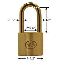 "GP11260 - Wilson Bohannan GP11260 keyed alike; 1-1/2"" wide solid brass padlock, brass 1-1/2"" shackle"