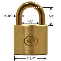 "GP12320 - Wilson Bohannan GP12320 keyed alike; 1-3/4"" wide solid brass padlock, brass 7/8"" shackle"